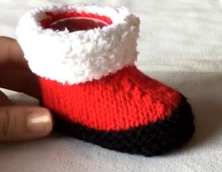 Tuto Tricot Facile Chaussons De Noël Pour Bébé